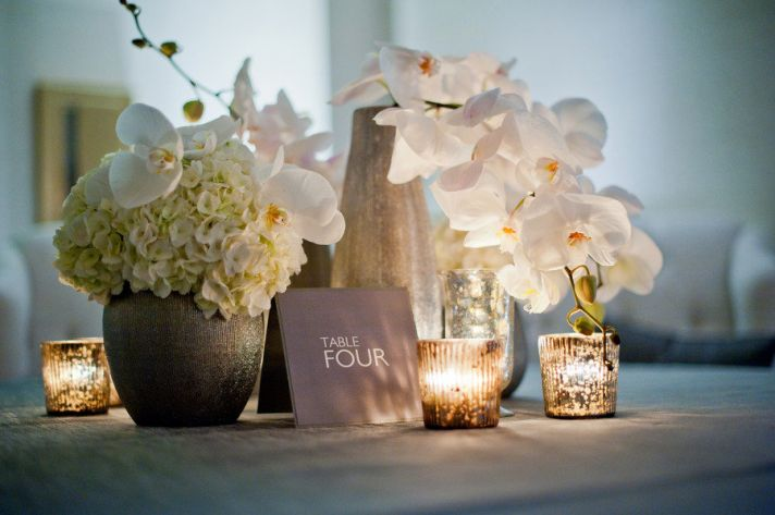 modern wedding reception decor white orchids centerpieces