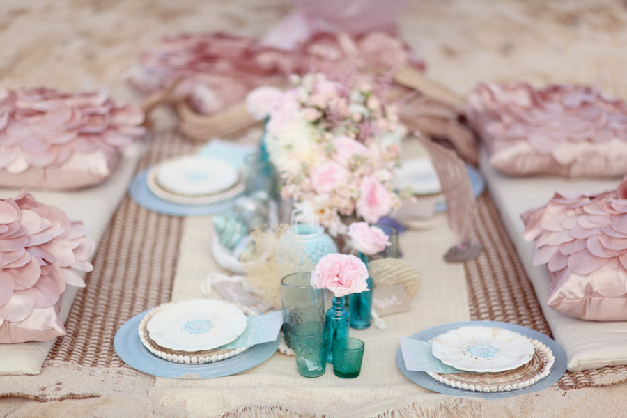 romantic beach wedding petal pink light blue turquoise