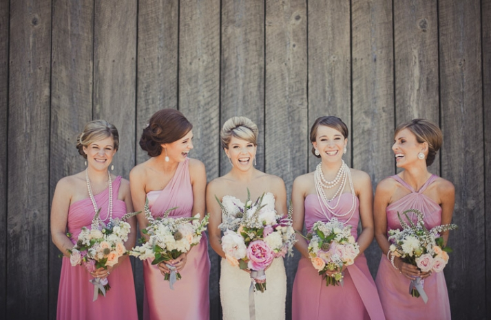 romantic bridal style mix match bridesmaids in pink