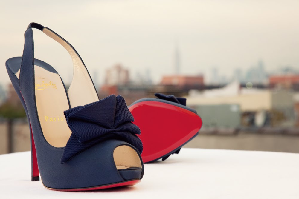 navy blue christian louboutin wedding shoes
