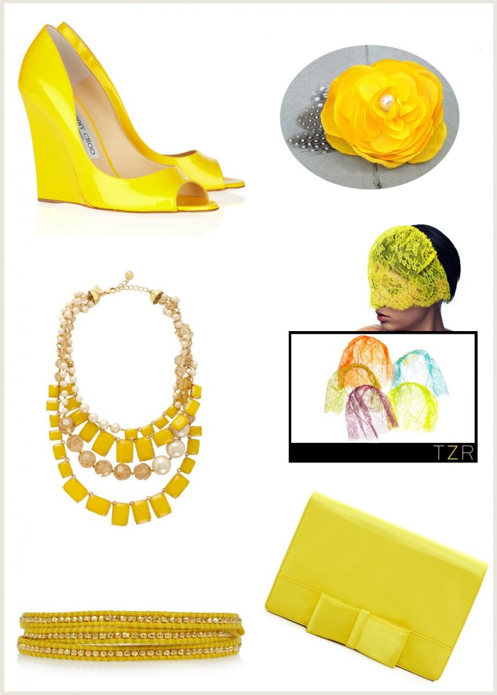 yellow wedding accessories bridal necklace bracelet wedding shoes