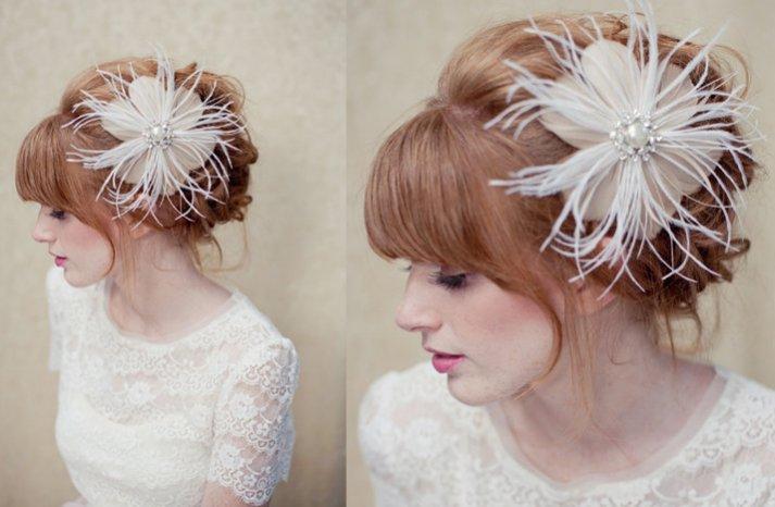 feather bridal fascinator wedding hair accessories vintage glam