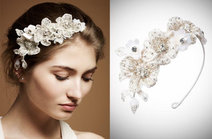 floral embellished headband by jenny packham  full carousel - Gelin Tac� | Gelin Ba�� Aksesuarlar� ~