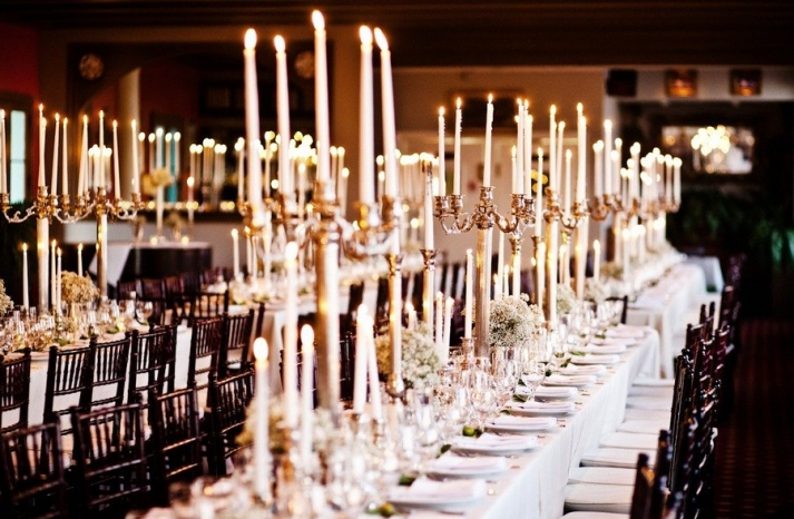 stunning wedding reception tablescapes candleabras