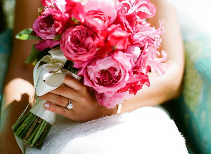 pink green wedding flower bouquet for bride