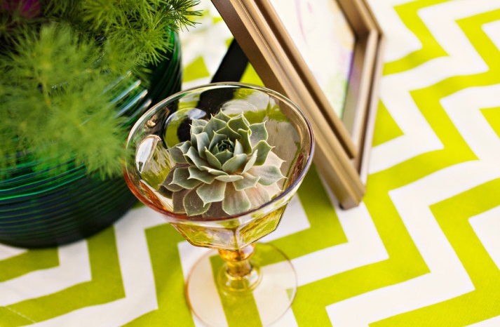 funky wedding reception table succulent centerpiece