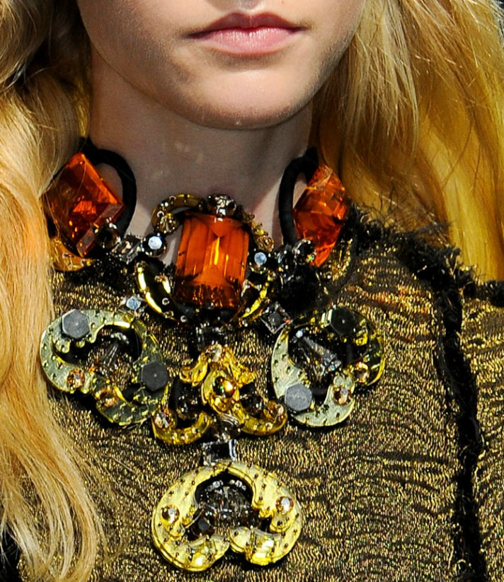 statement bridla necklace gold orange lanvin