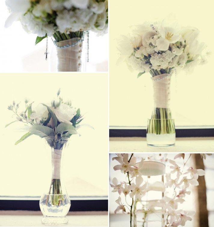 simple elegant wedding flowers ivory bridal bouquet reception centerpiece