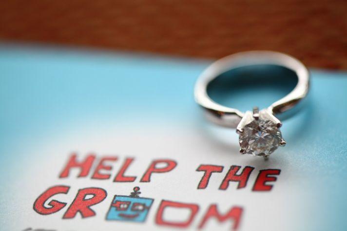 techy wedding 2012 robot theme engagement ring shot