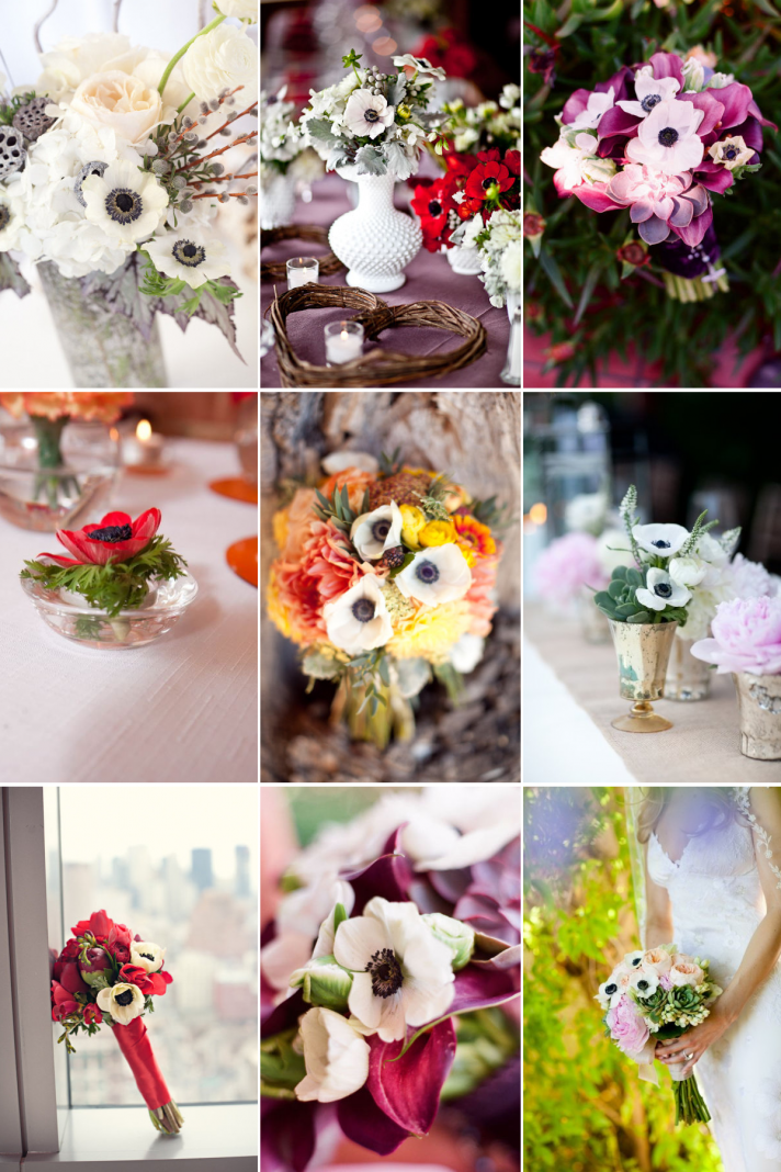 wedding flower ideas anemone bridal bouquets centerpieces