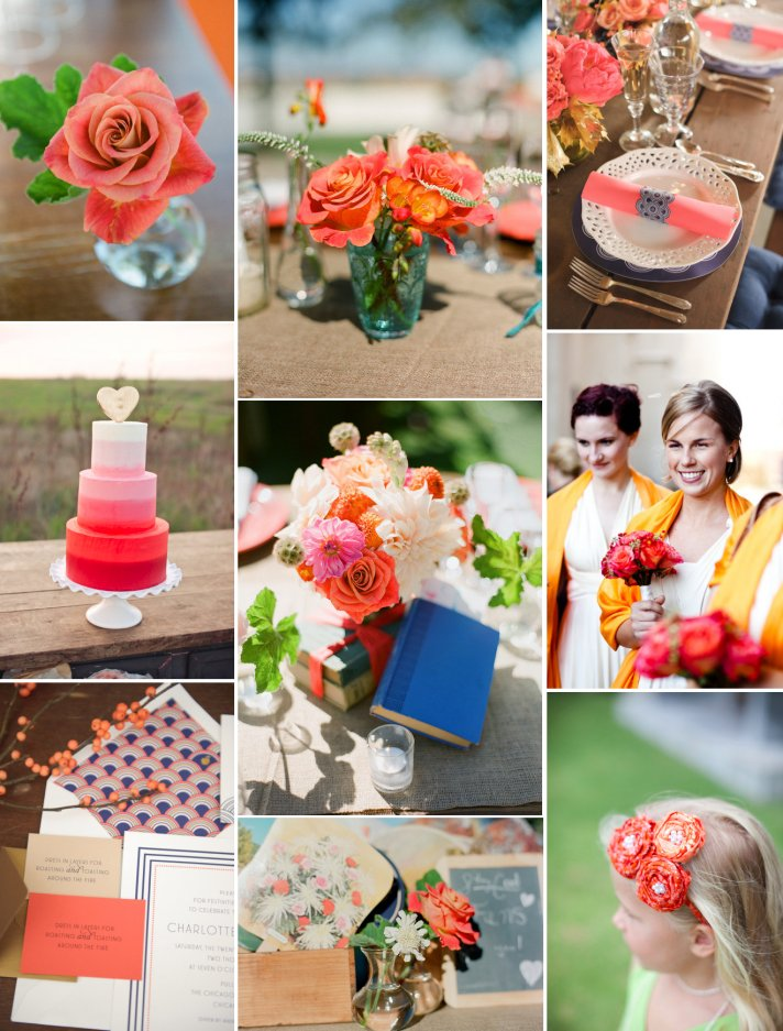 vivid coral wedding inspiration ombre wedding cake bright reception flowers