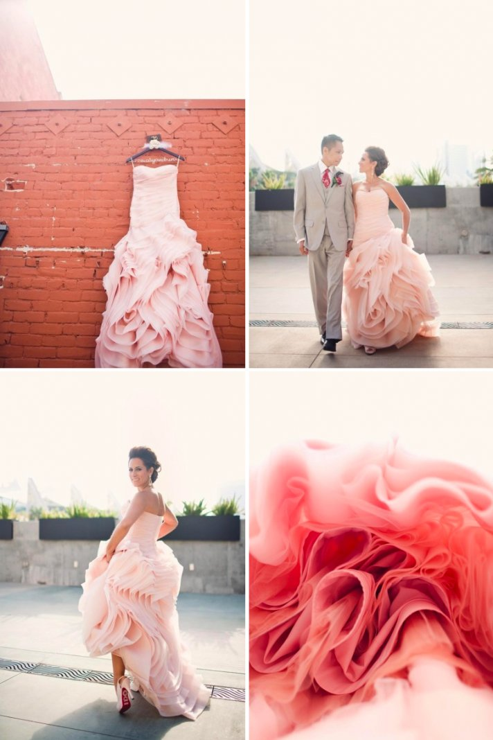 elegant real wedding bride wears pink wedding dress by vera wang