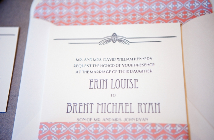 coral grey wedding invitations vintage inspired 1