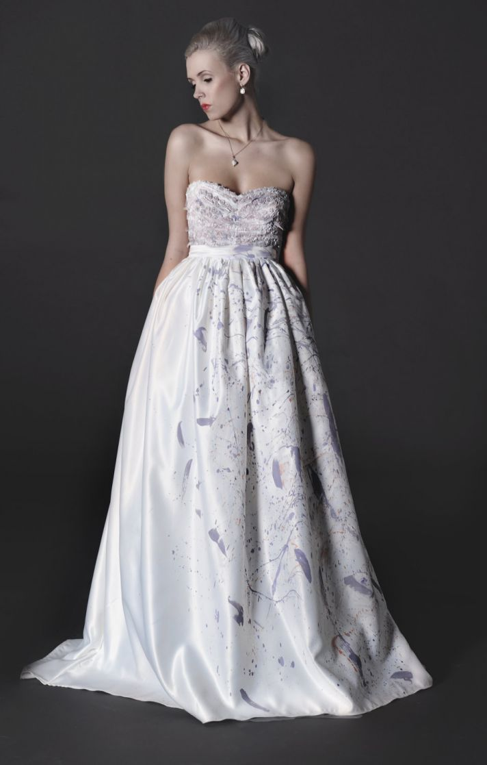 2012 wedding dress white a line with modern color details
