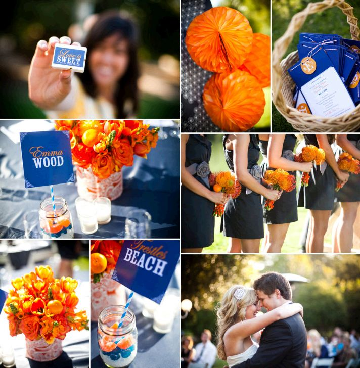 march madness wedding ideas orange blue wedding reception decor