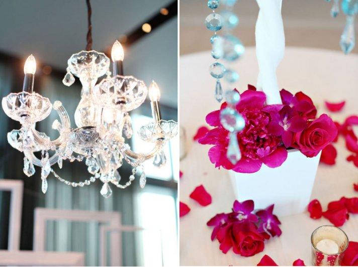 hot pink purple orchid wedding flowers chandelier venue