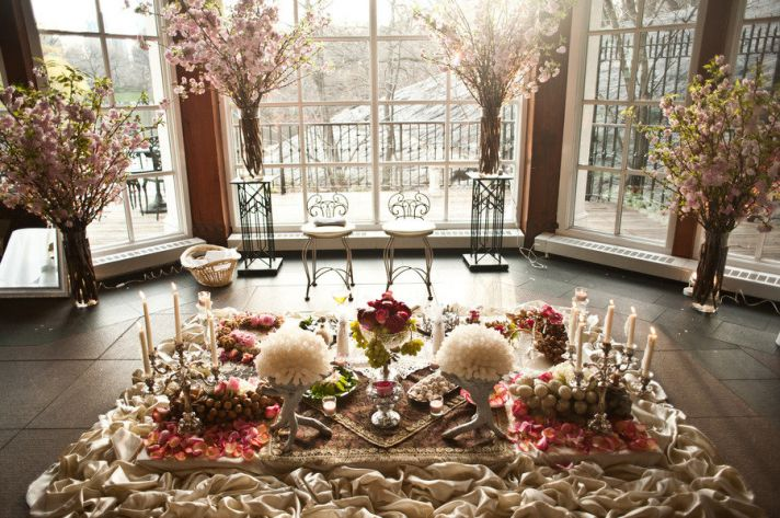 romantic wedding reception decor fruit centerpieces