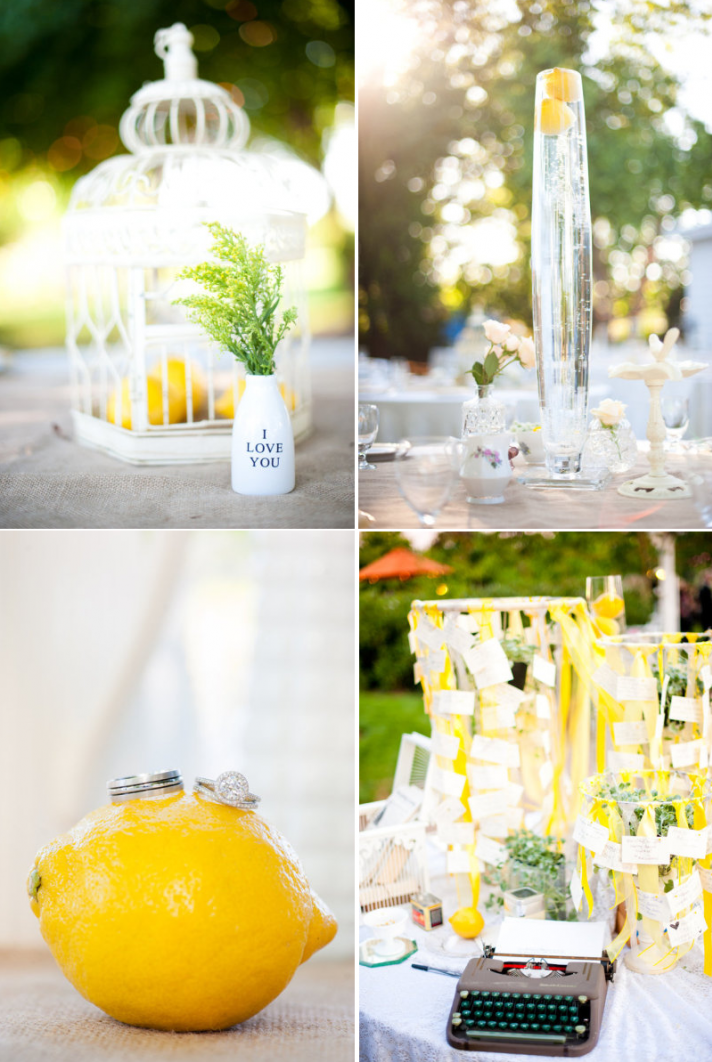 outdoor spring wedding lemons as wedding centerpiece details