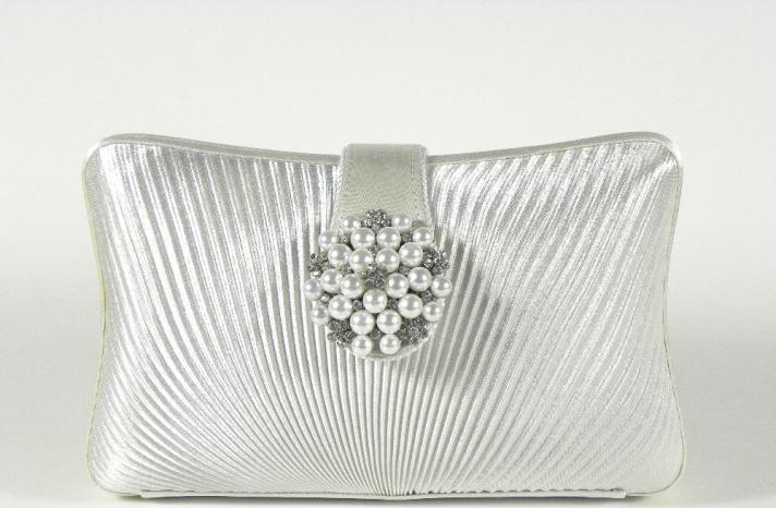 elegant silver bridal clutch