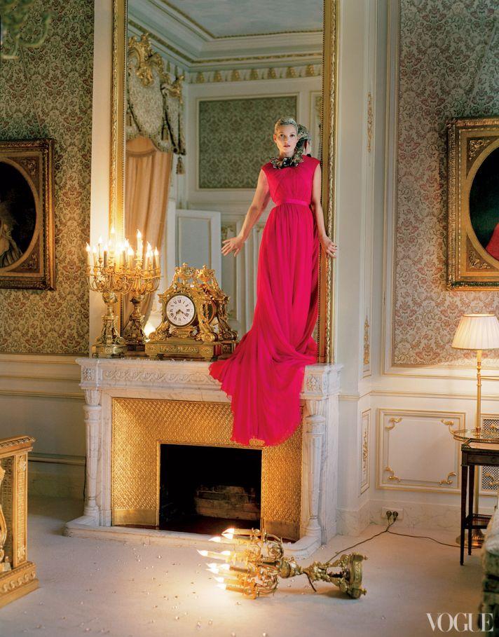 dramatic wedding inspiration kate moss elegant ballroom wedding venue hot pink bridesmaid dress