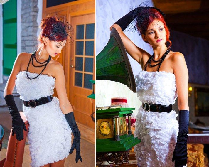 TEXTURED LITTLE WHITE DRESS FOR WEDDING RECEPTION BLACK ACCESSORIES