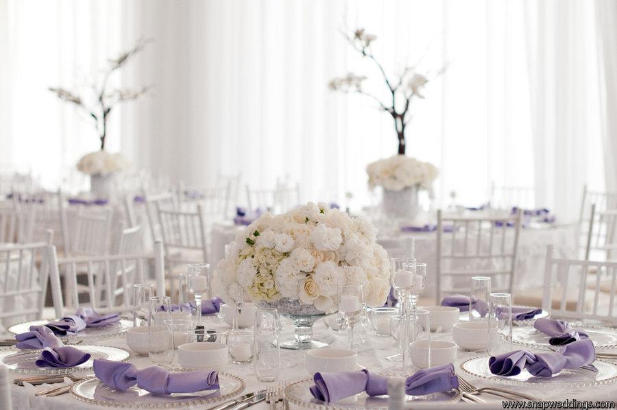 Elegant Ivory Lilac Wedding Reception Centerpieces Place Settings