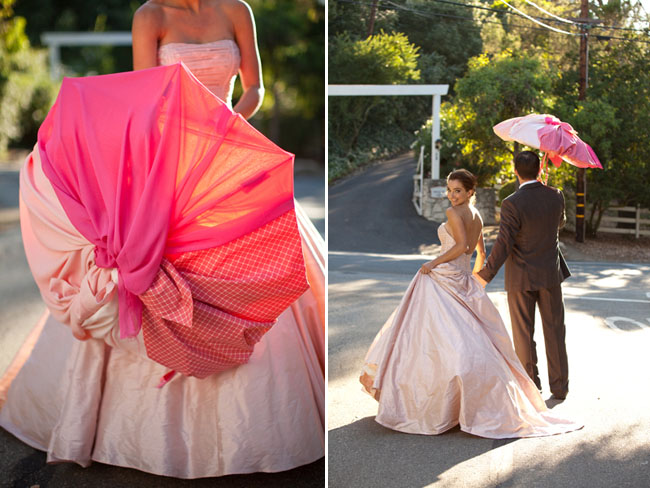 ombre wedding ideas pink bridal gown umbrella 1 Credit Green Wedding Shoes