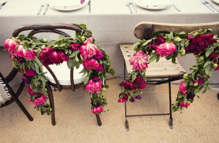 enchanted garden wedding inspiration reception flowers pink garland
