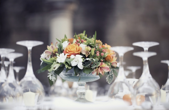 romantic garden wedding reception centerpieces peach orange green white