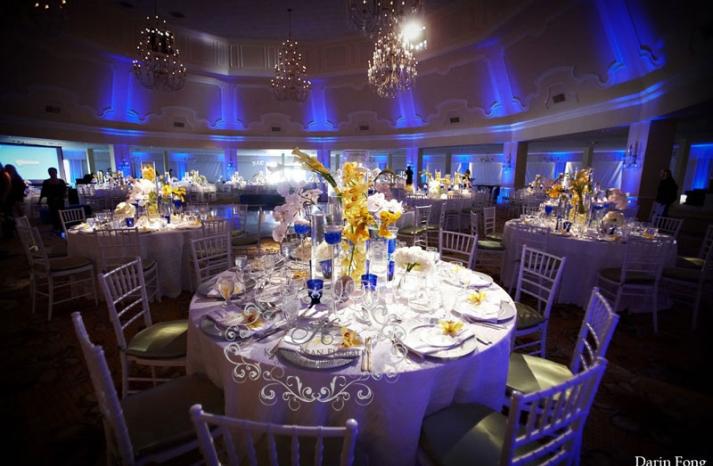 Cobalt blue wedding Hotel Del Coronado grand ballroom