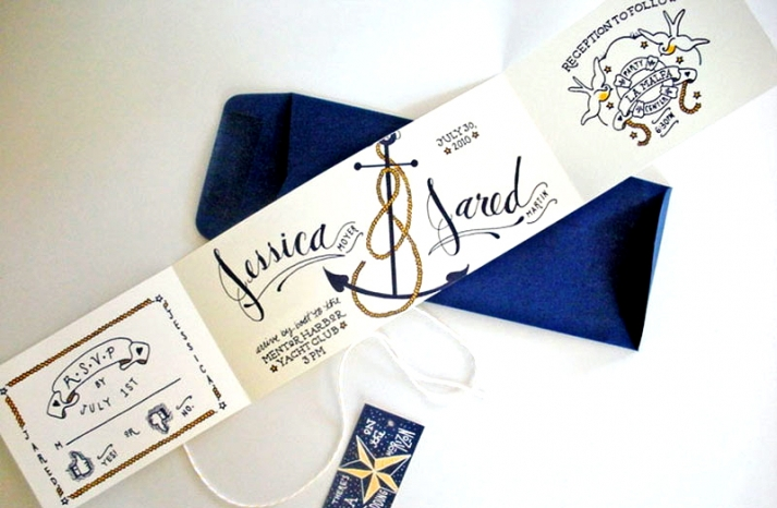 Jessica Jared Sailor Tattoo Wedding Invitations