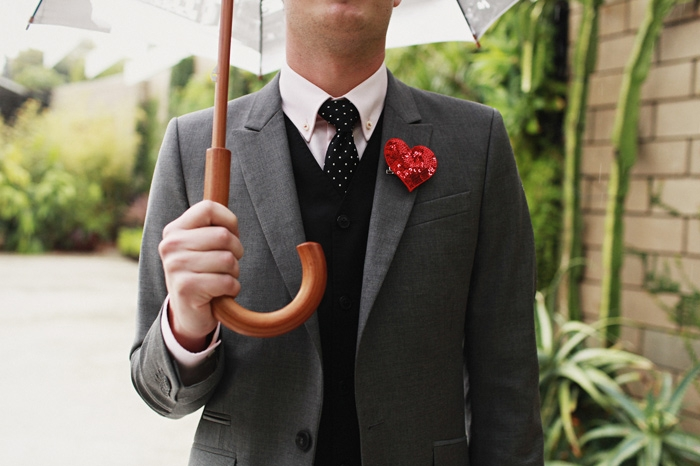 heart shaped boutonniere grooms attire