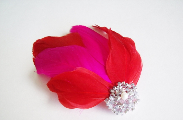 hot pink red feather bridal fascinator