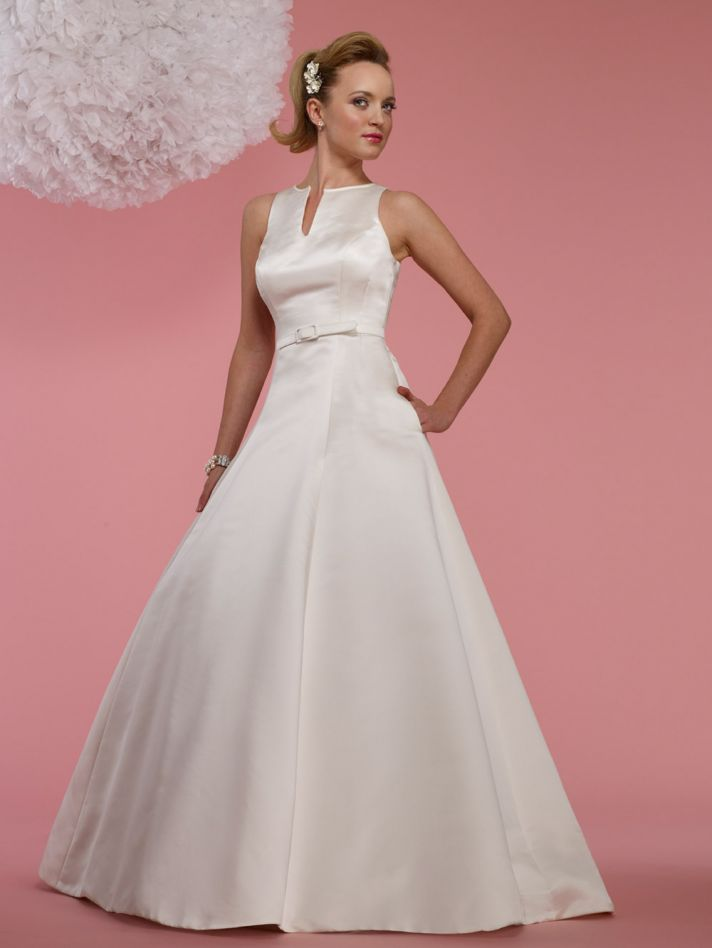 modest 2012 wedding dress notched neckline