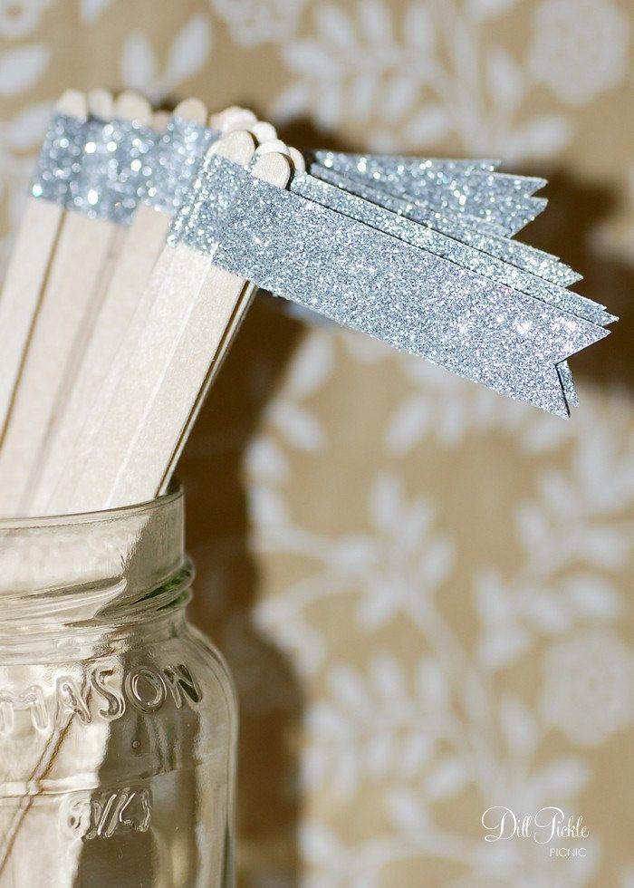 sparkly silver drink stirs wedding cocktails metallic trend
