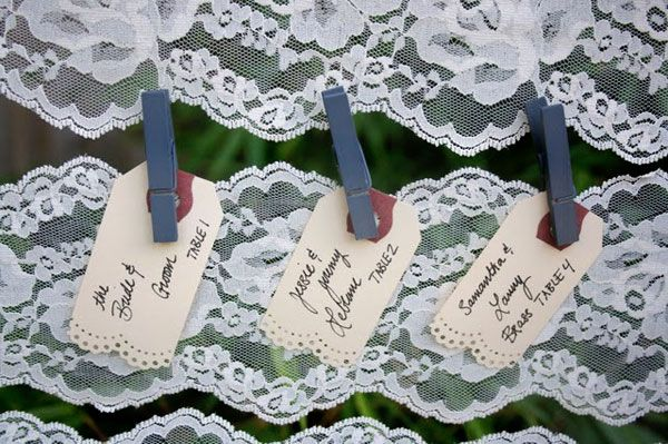 romantic outdoor wedding lace DIY project escort card display