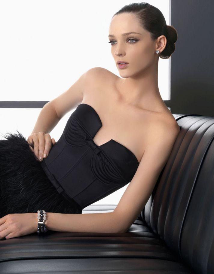 black bridesmaid dress notched neckline feathers