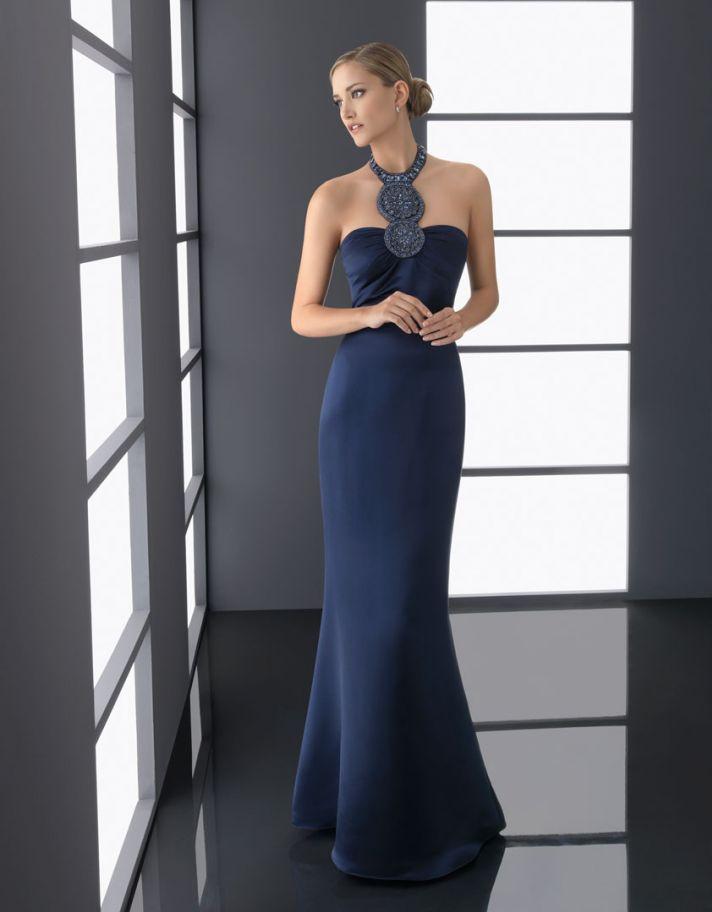 navy blue bridesmaid dress elegant statement neckline