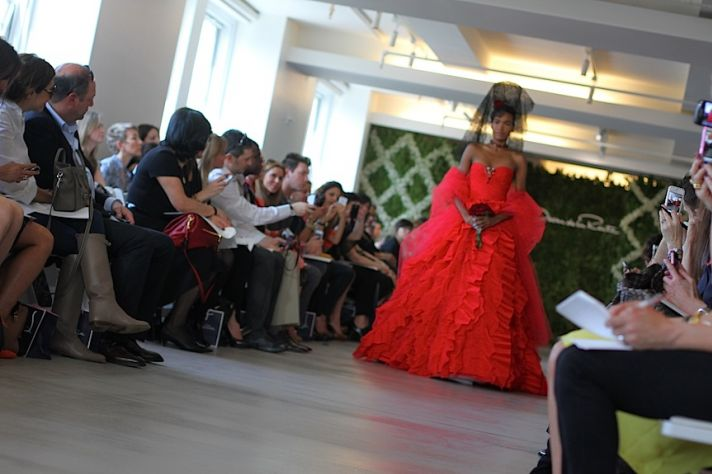 red wedding dress oscar de la renta spring 2013 ballgown