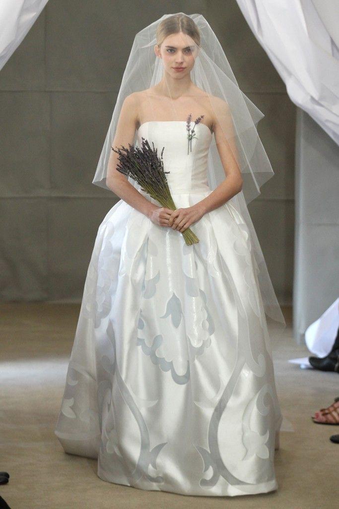 Spring 2013 bridal gowns Carolina Herrera wedding dress strapless ballgown ice blue details
