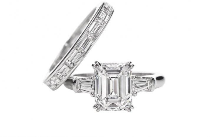 angelina jolie engagement ring emerald cut diamond engagement rings Harry Winston