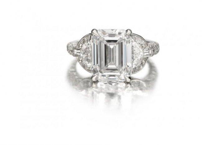 angelina jolie engagement ring emerald cut diamond engagement rings Forevermark