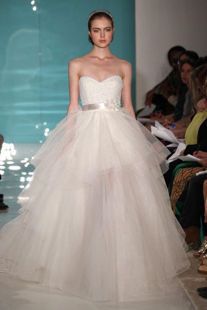 2013 wedding dress trend sheer necklines illusion fabric Reem Acra 11