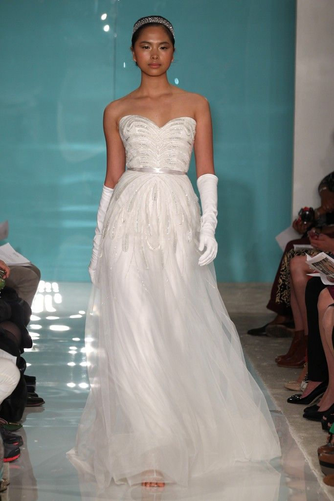 2013 wedding dress trend sheer necklines illusion fabric Reem Acra 6