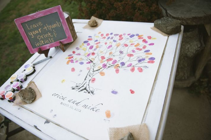 unique wedding guest books thumbprint tree art