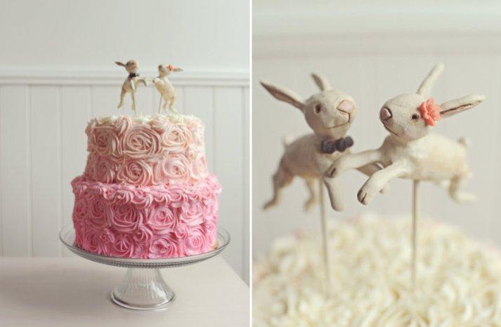 cute wedding cake topper ombre wedding cake bunnies