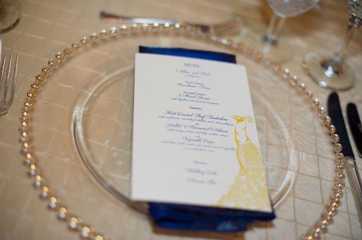 navy yellow wedding reception place setting