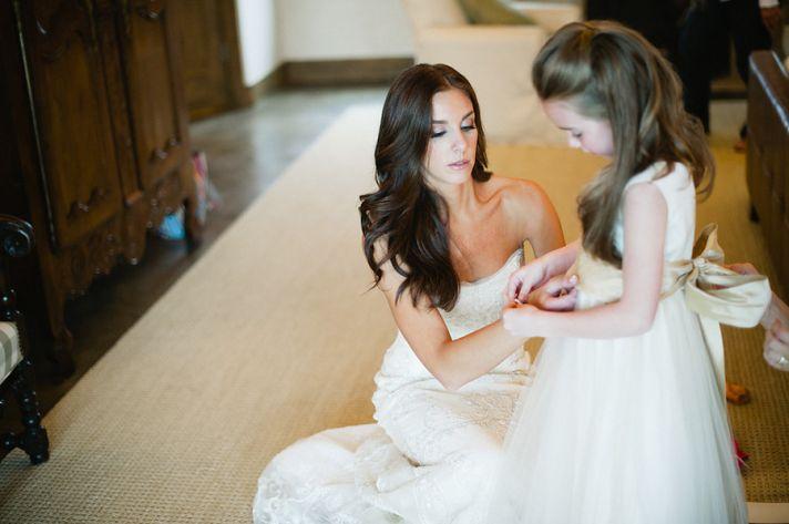 bombshell wedding hair brunette bride