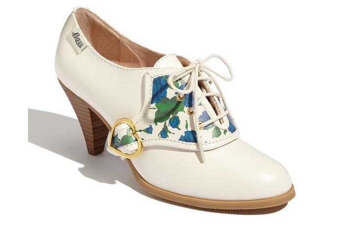 floral print wedding shoes bridal heels ivory booties vintage brides