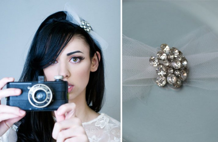 cute wedding hair accessory tulle bridal bow